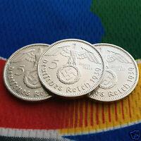 1939 A 5 Mark German Silver Coin (1) WW2 Third Reich Swastika Reichsmark