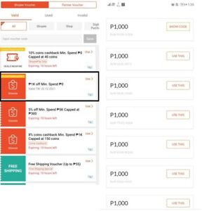 Discounted Shopee vouchers 50 USD - 1000 PHP