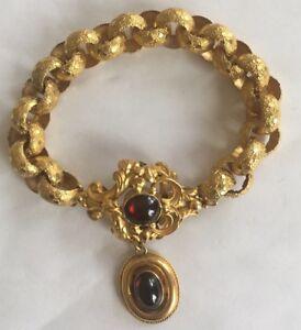 GEORGIAN 18CT GOLD ANTIQUE BRACELET GARNET DROPPER 1800S