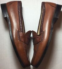 FootJoy Leather Penny Loafers Brown Tan Cognac Braided Shoes