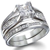 LOS256 WEDDING & ENGAGEMENT SET  925 STERLING SILVER SIMULATED DIAMOND RING