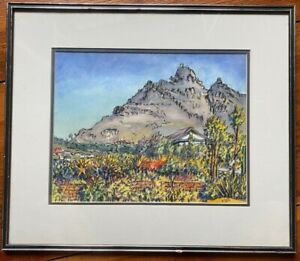 Watercolour Table Mountain Vue ° Willy Hes ° Signed Antique Frame Mediterranean
