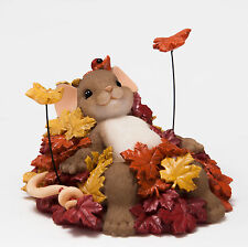 Charming Tails Pile of Leafs Mouse Autumn Fall 4046805 New Figurine