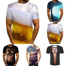 Hombre Divertido Mono 3D Digital Camiseta Estampada Manga Corta Casual Blusas