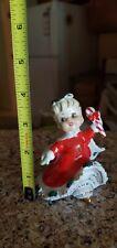 Vintage 1950's Geo Lefton Christmas Spaghetti Girl Figurine Bell w/ Candy Cane