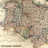 Northern Germany Hanover Mecklenburg c.1840 old Dower map Orr