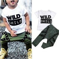 Kids Toddler Baby Boys Outfits Tops T Shirts Tee Harem Pants Summer Clothes Set