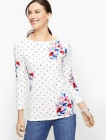 Talbots Cotton Bateau Neck Tee Size Small Women Floral Polka Dot Print
