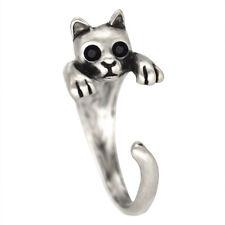 Adjustable Cat Around Ring Silver Women's Girl's Retro Rings For Teen Girls