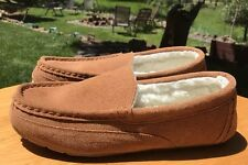 "Clarks ""Bruce"" Cinnamon Faux Fur Lining Leather Suede Outdoor Indoor Slippers 10"