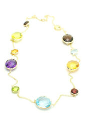 14K Yellow Gold Necklace With Multi Color Oval and Round Gemstones 20 Inches