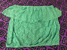NWT Mimi Chica L Large Semi Sheer Green Floral Lace Tube Top Elastic Banding
