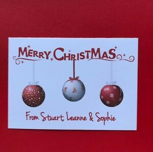 10 Personalised Christmas Cards - Family - Business - Pack of 10 - Handmade