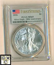 2016 1oz. American Eagle Silver Dollar PCGS Graded MS 69- 30th Ann. First Strike
