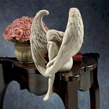 Powerfully Emotional Angel Grieving Head Bowed Elegant Winged Angel Statue