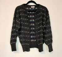 Vintage Womens S Small Knit Button Front Cardigan Gray Purple Blue Pattern Italy