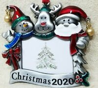 CHRISTMAS TREE ORNAMENT PHOTO PICTURE FRAME 2020 SANTA SNOWMAN REINDEER FRIENDS