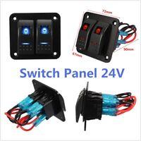Universal Electrical Equipment 12V/24V Gang Dual LED Rocker Switch Panel Vehicle