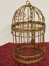 """Vintage Dome Top Gold Tone Metal Hanging Birdcage-Heart Theme - 10"""""""