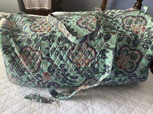 NEW! Vera Bradley Set: XL Traveler Duffel Bag /Breakaway Lanyard in Fan Flowers