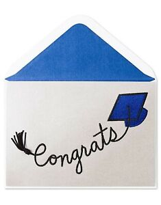 Papyrus Graduation Card - Embroidered Blue Mortarboard Cap - You are Amazing