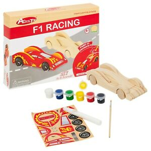 Wooden Race Car DIY Construction Toy Set Model Building Gift Set Paint Stickers