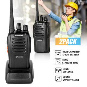 2 Pack Baofeng BF-666S Walkie Talkie 16CH UHF Two-Way Ham Radio 2800mAh UK
