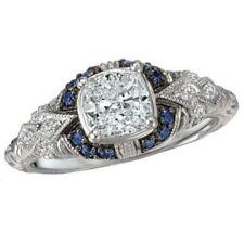 1.25 Ct Diamond & Blue Vintage Art Deco Filigree Work Engagement Ring 925 Silver