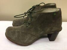 "EL NATURALISTA ""DUNA"" green Suede Women Ankle Boots Sz EUR 40"