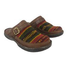 Born Womens Size 8 Leather Wool Aztec Boho Slip On Mules