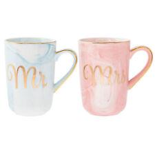 Tazza in Porcellana Fine Set con Oro Scritta e Marmo Design - Mr & Mrs