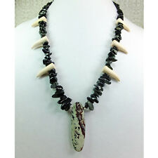 Cosplay Necklace 6 White Fangs Obsidian Stone Chips with Picasso Jasper Pendant