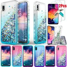 For Samsung Galaxy A10e A20 A30 Glitter Bling TPU Case+Tempered Screen Protector