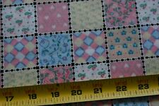 By 1/2 Yd, Vintage, Pink Yellow Blue Quilt Patch Print on Stiffer Cotton, P181