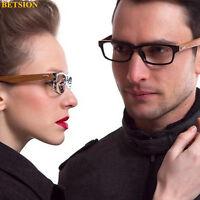 Vintage Wood Eyeglass Frame Full Rim Glasses men women Retro Spectacles Rx able