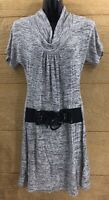 Chesley Women's Dress Size Medium Gray Cowl Neck Casual Knee Length Black Belt