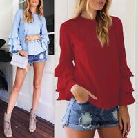 Women's Long Bell Sleeve Ruffled Flounce Blouse Casual Shirt Tops Tee USA
