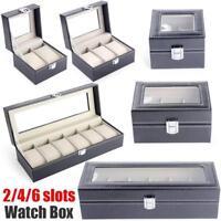 2/4/6 Slot Watch Box Leather Display Case Organizer Top Glass Jewelry Storage