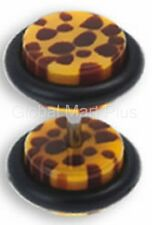 1 Fake Cheater Ear Plug Earring Piercing Leopard 16ga PTFE 316L Surgical Barbell
