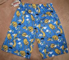 ADVENTURE TIME Jake & Finn Blue Shorts Lounge Pants Pajamas Boys sz 8/10