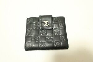 Authentic CHANEL Leather Black CC Long Wallet  #8032