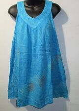 Top Fits XL 1X 2X 3X Plus Long Tunic Turquoise Stamp Art A Shaped Tank NWT G91