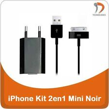 iPhone 3G 4 4S  iPod Chargeur 2en1 + Cable USB iPhone 3GS 3G Oplader 2in1 Black