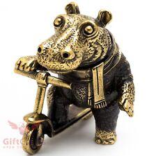 Solid Brass Figurine baby Hippopotamus Hippo Behemoth on a kick scooter IronWork