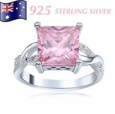 Stunning 925 Sterling Silver Pretty Pink Crystal Ring Gift New Sizes 7, 8, 9