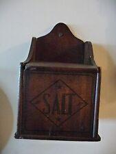 Primitive Wood Salt Box with hinged lid all original