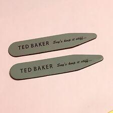 TED BAKER Shirt Collar Stiffeners 50mm Long GREY BLACK Shirt Collar Stays Bones