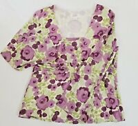Ann Taylor Blouse Short Sleeve Shirt Top Women's Petite 14P Floral Purple