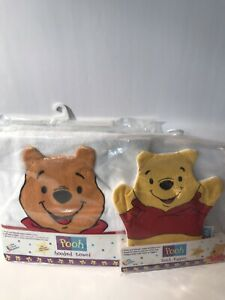 VTG 1995 Whiney The Pooh Hooded Bath Towel & 1998 Bath Puppet By The First Years