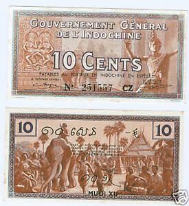 Französisch Indochina 10 Cents 1939 kassenfrisch P.85
